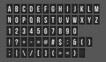 alphabet de tableau de bord mécanique vecteur