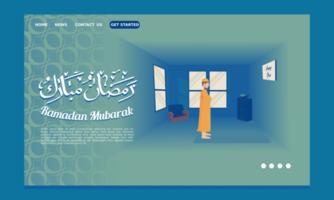 page de destination du ramadan avec un homme debout pour prier vecteur