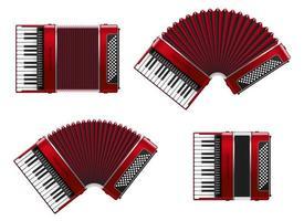 quatre accordéons réalistes isolés vecteur