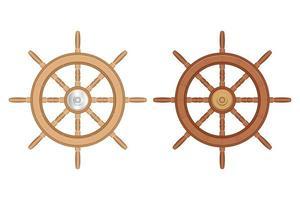 Ensemble de roues de bateau en bois isolé