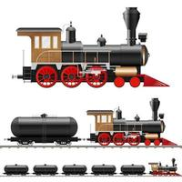locomotive à vapeur antique et wagons vecteur