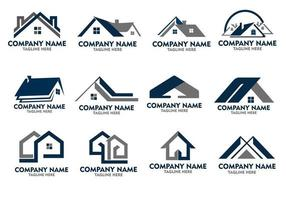 logos immobiliers minimaux vecteur