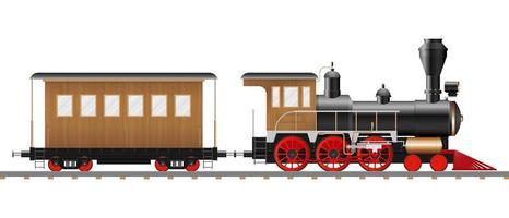 locomotive à vapeur vintage et wagon vecteur