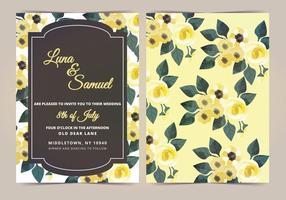 Invitation de mariage de fleur jaune citron jaune vecteur
