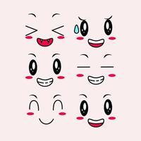 ensemble de visages mignons kawaii vecteur