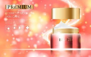 crème hydratante pour le visage sur fond rose et or scintillant