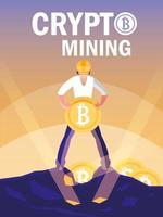 Bitcoins minier crypto travailleur vecteur