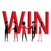 hommes et femmes daffaires avec grand texte de victoire rouge vecteur
