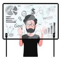 homme affaires, regarder, graphique, et, analyse, données