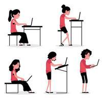posture de personnage avec des personnes assises et debout avec des ordinateurs portables vecteur