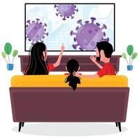 famille sur canapé regardant les nouvelles de virus à la maison