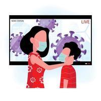 maman et son fils portent des masques en regardant les nouvelles sur les virus