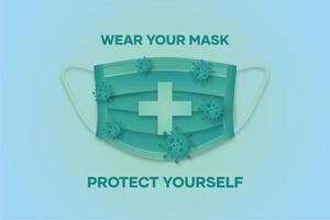 affiche avec masque et texte vert brillant vecteur