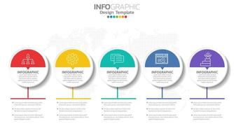 infographie avec 5 cercles mi-blancs et mi-colorés vecteur