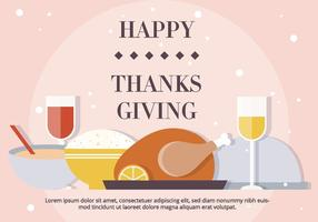 Blush thanksgiving dinner vector