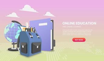 concept d & # 39; éducation avec sac à dos scolaire et dossier de fichiers vecteur