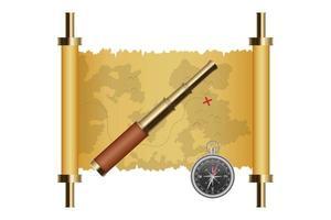 carte au trésor, lunette et boussole magnétique isolés vecteur