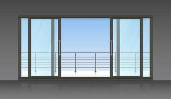 porte extérieure coulissante et terrasse vecteur