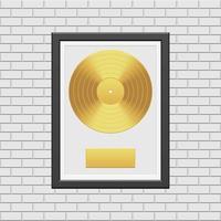 disque vinyle doré avec cadre noir