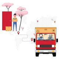 société de logistique livrant un colis vecteur