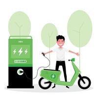 concept alternatif d'énergie écologique verte avec scooter électrique