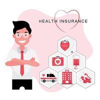 concept d'éléments d'assurance soins de santé vecteur