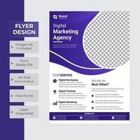 conception de flyer violet courbé sur blanc vecteur