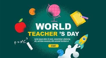 conception grunge de la journée mondiale des enseignants vecteur