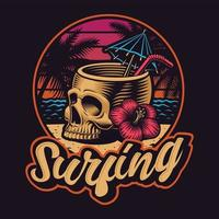 crâne avec paille sur la conception de t-shirt de plage