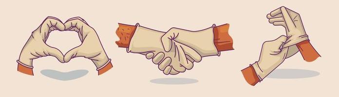 mains gantées dans différentes poses vecteur