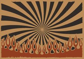 rayon de style vintage avec un design de bordure de flamme vecteur