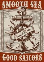 affiche nautique de style vintage avec ancre vecteur