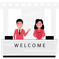 réceptionniste d'affaires d'accueil accueillant des invités au comptoir