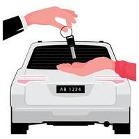 Entreprise de location de voitures main donnant la clé à la main derrière la voiture blanche vecteur