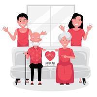 Assurance santé couple de personnes âgées sur le canapé, les jeunes derrière vecteur