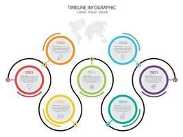 infographie de la chronologie du cercle coloré vecteur