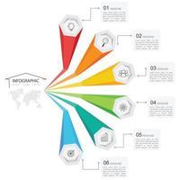 Infographie du bras hexagonal coloré en 6 étapes vecteur