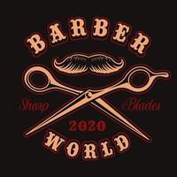 Ciseaux et badge vintage moustache pour t-shirt vecteur