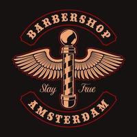 poteau de coiffeur avec ailes et lettrage pour t-shirt vecteur