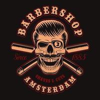 crâne de coiffeur vintage avec des rasoirs croisés pour t-shirt vecteur