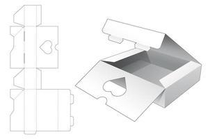2 boîtes d'emballage flip top avec fenêtre cœur vecteur