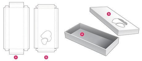 Boîte longue 2 pièces avec fenêtre 2 coeurs vecteur