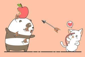 Un chat archer tire une pomme sur la tête de panda