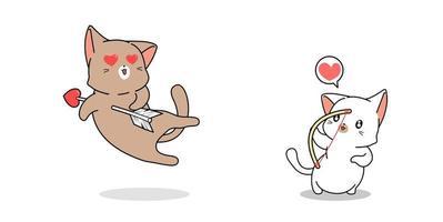 chat archer tirant un autre chat avec flèche d'amour