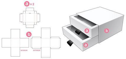 Coffret 2 tiroirs avec couvercle vecteur