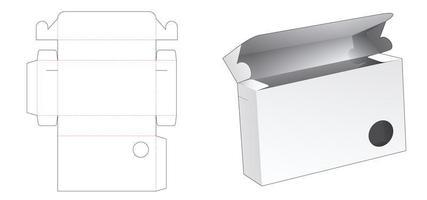 boîte d'emballage de documents avec fenêtre circulaire vecteur