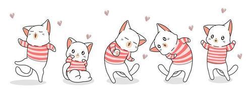 5 chats en chemises rayées avec des coeurs