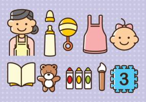 Icônes vectorielles de baby-sitter