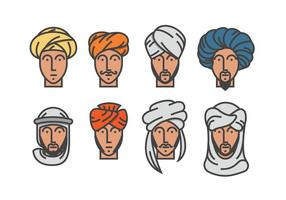 Hommes dans les vecteurs Turban vecteur