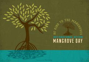 Affiche gratuite du livre de la journée d'action de la mangrove internationale vecteur
